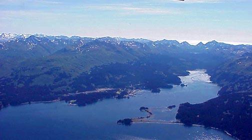 Aerial of Seldovia Bay looking East
