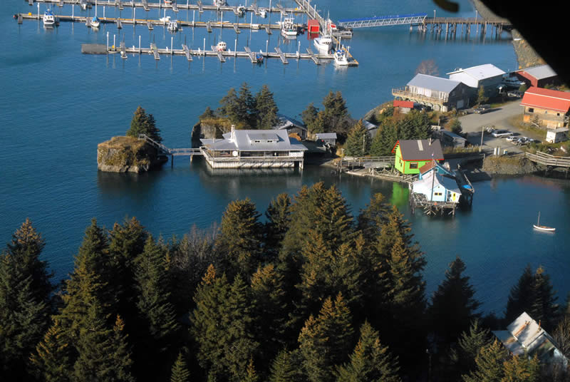 Aerial Big House in Seldovia Alaska