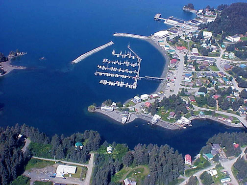 Aerial of Seldovia Harbor and slew