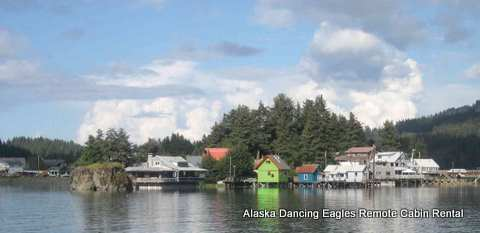 Alaska Dancing Eagles look from across the slew